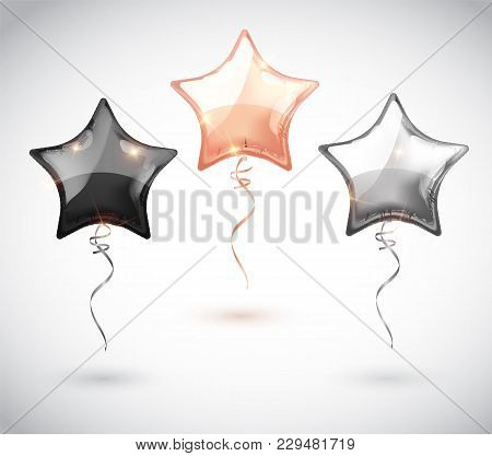 Star Balloon Set On Transparent Background. Party Balloons Event Design Decoration. Balloons Isolate