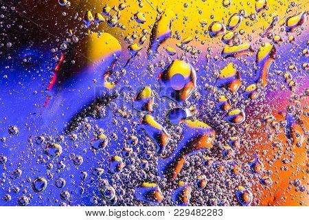 Abstract Background With Water Bubbles. Macro Shot Of Air Or Molecule. Cell, Membrane Texture Backgr