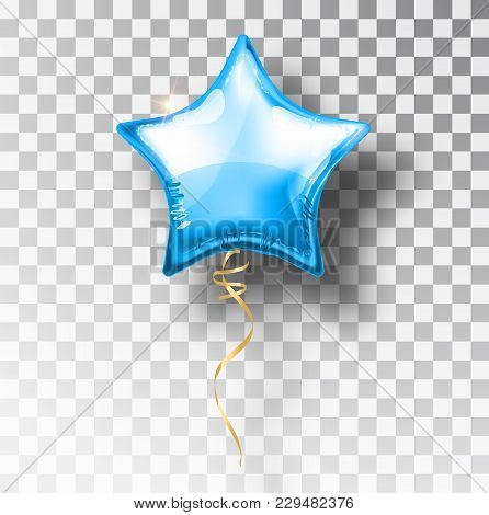 Star Blue Balloon On Transparent Background. Party Helium Balloons Event Design Decoration. Balloons