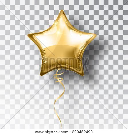 Star Gold Balloon On Transparent Background. Party Helium Balloons Event Design Decoration. Balloons