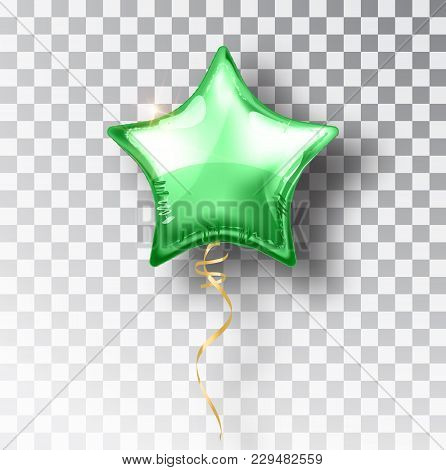 Star Green Balloon On Transparent Background. Party Helium Balloons Event Design Decoration. Balloon