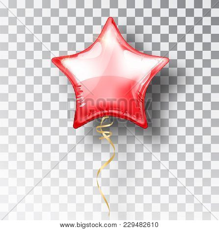 Star Red Balloon On Transparent Background. Party Helium Balloons Event Design Decoration. Balloons