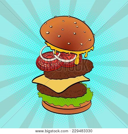 Pop Art Retro Burger On Bright Background. Hand Painted Fast Food. Ingredients Elements Are Intercha