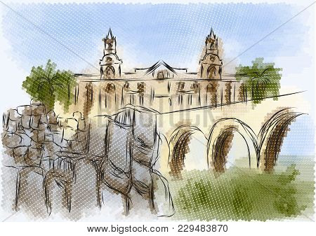 Arequipa Abstract Illustration. City On A Multicolor Background