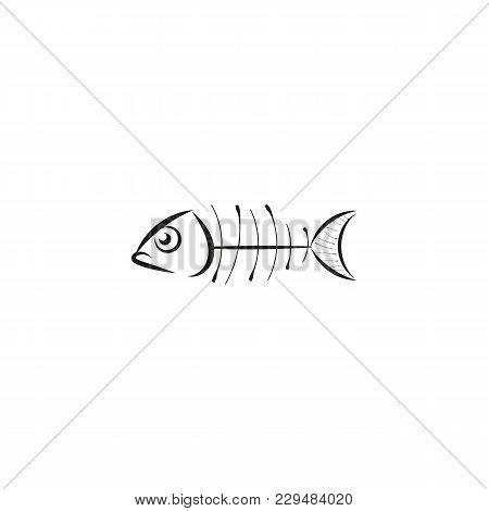 Fish Skeleton Line Icon.fish Bone Vector Illustration