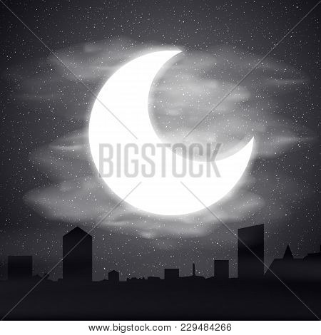 Night Time Sky, Nature Landscape With Moon, Good Night Vector Illustration.