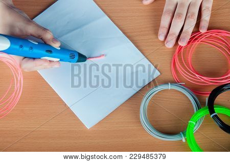 Schoolboy With 3d Pen. Creative, Leisure, Technology Education Concept. Top View