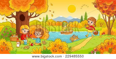 Boys And Girls On A Picnic. Children In The Woods And Fishing. Vector Illustration In Children S Sty