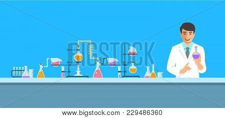 Chemist In Chemical Laboratory. Flat Vector Background. Cartoon Horizontal Banner. Asian Man Scienti