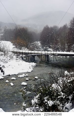 The Gardon Snowy River In The French Region Of Cevennes And The Gard Department Next To Anduze