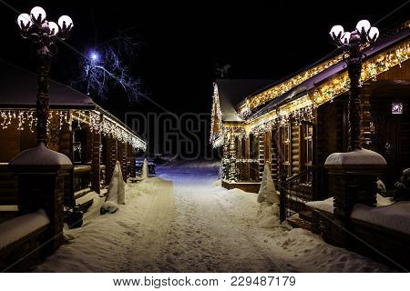 Christmas Fantasy - Park, Forest, Cottage, Pine Tree Lodge In Xmas Lights