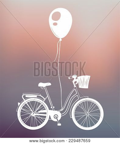 Bicycle And Balloon - Retro-styled Greeting Card. Vector Illustration Isolated On Colorful Illustrat