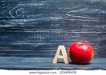 Red Apple And Letter A. The Concept Of Primary Education. Apple For The Teacher. Sadik, School, Coll