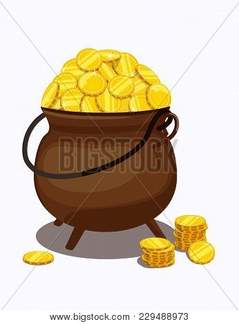 Cauldron Filled To Top With Gold Coins. Vector Illustration.