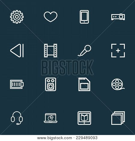 Music Icons Line Style Set With Film Reel, Sd Card, Charge And Other Gear Elements. Isolated  Illust