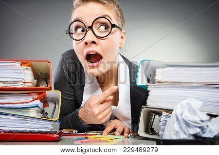 Workaholism Mental Insanity Weird Job Work Company Concept. Insane Office Woman At Work. Mad Secreta
