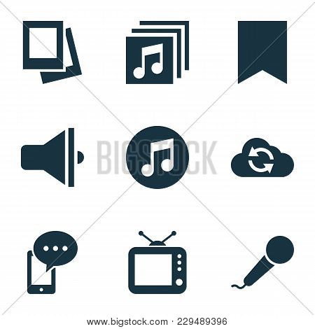 Multimedia Icons Set With Loudspeaker, Bookmark, Tv And Other Microphone Elements. Isolated  Illustr
