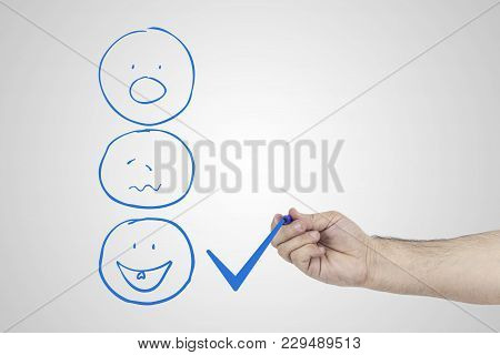 Customer Experience Concept. Hand Putting Check Mark A Checkbox On Excellent Smiley Face Rating For
