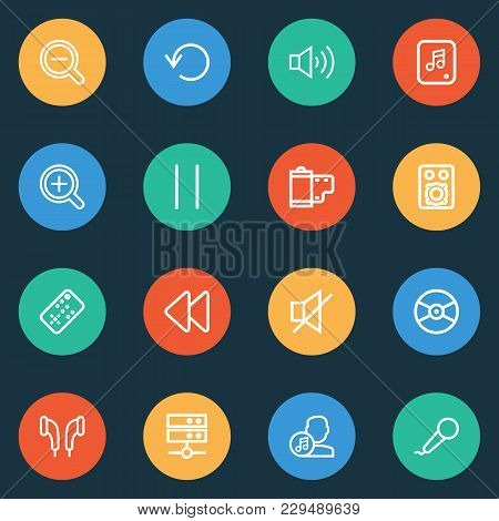 Media Icons Line Style Set With Amplifier, Artist, Media Server And Other Datacenter Elements. Isola