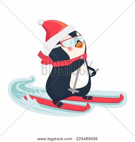 Penguin Riding On Skis On Snow. Penguin Cartoon Illustration.