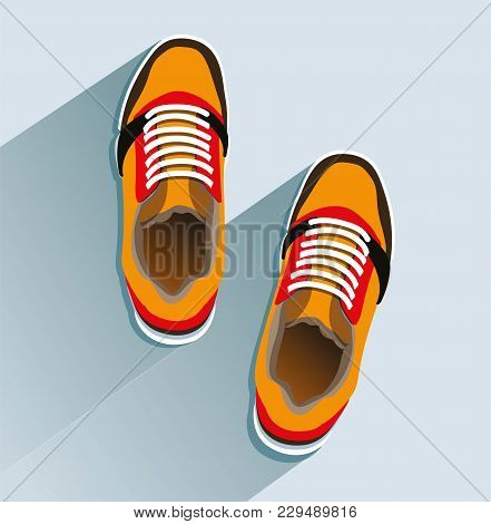 Sneakers. Sneakers In Flat Style. Sneakers Top View. Fashion Sneakers. Fashion Sneakers Orange. Vect