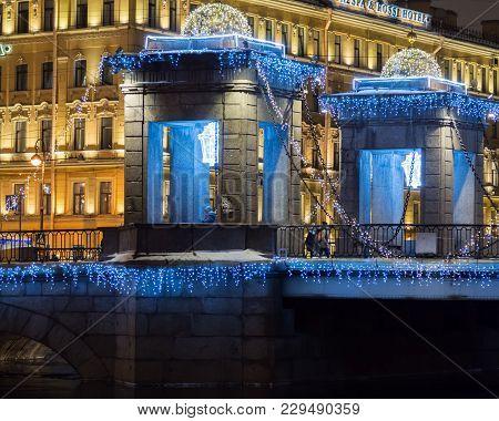 St. Petersburg, Russia - December 22, 2017: New Year's Lighting Of The Bridge Over The Fontanka. Ill