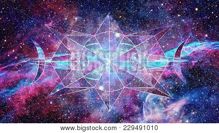 Abstract Cosmos Geometric Background With Polygons, Triangles, Stars And Nebula. Polygonal Cloudscap