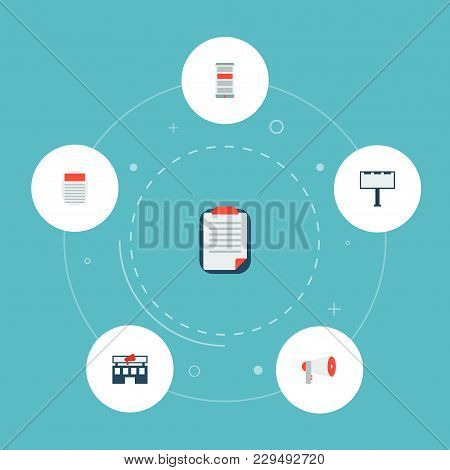 Set Of Marketing Icons Flat Style Symbols With Client Brief, Newspaper, Advertising Agency And Other