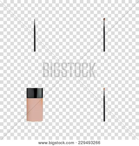 Set Of Maquillage Realistic Symbols With Eye Paintbrush, Brow Makeup Tool, Foundation And Other Icon