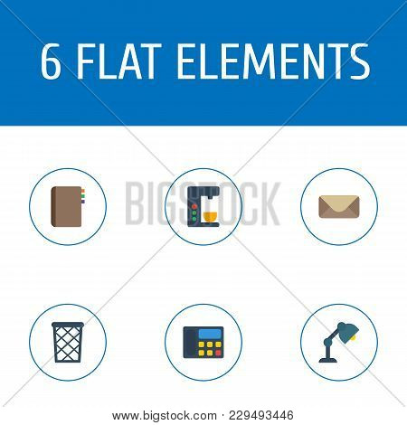 Set Of Office Icons Flat Style Symbols With Mail, Telephone, Coffee Maker And Other Icons For Your W