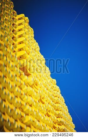 New Yellow Wooden Formwork Stacked In A Warehouse In Large Piles. Materials For The Construction And