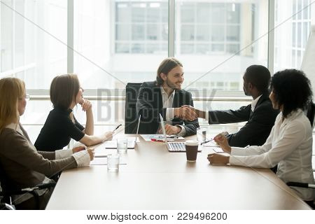 Company Boss Handshaking African American Worker At Corporate Group Meeting, Ceo Welcoming New Hire,