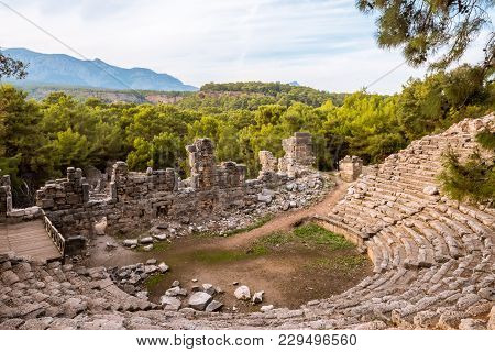 Stone Amphitheater In Ancient City Of Phaselis Faselis . Historical Landmark Faselis - City Of Ancie