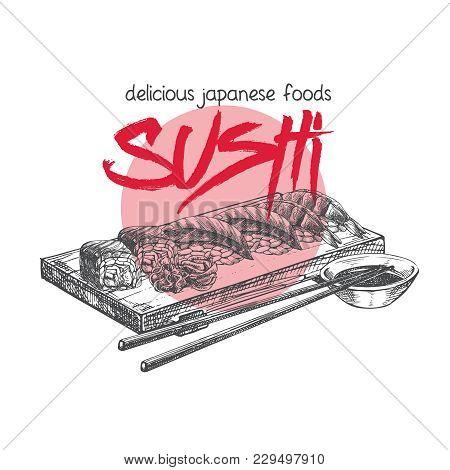 Vector Hand Drawn Sushi Poster. Japanese Food Sketch Illustration For Sushi Rolls Bar Menu, Banner,