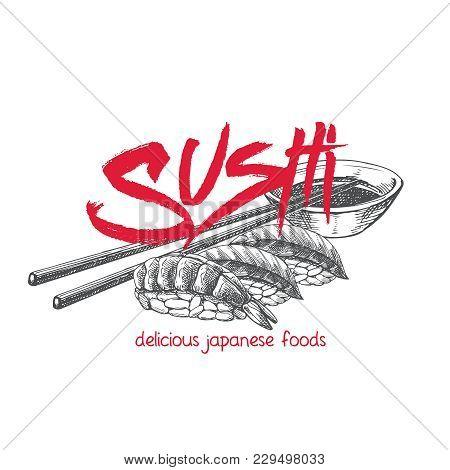 Vector Hand Drawn Sushi Set. Japanese Food Sketch Illustration For Sushi Rolls Bar Menu, Banner, Fly
