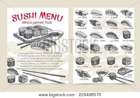 Vector Hand Drawn Sushi Bar Munu. Japanese Food Sketch Illustration For Sushi Rolls Shop.