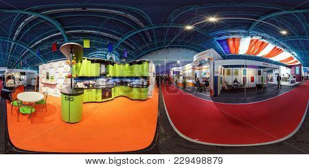 Minsk, Belarus - May 7, 2015: 360 Panorama Interior Of International Exhibition Modern And Fashionab