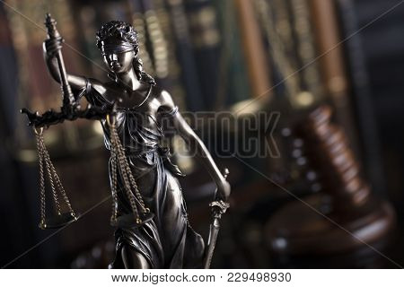 Justice Concept Background. Themis And Gavel Of Judge. Brown Background.