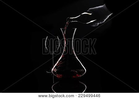 Hand In White Glove Make Wine Decanting In Contours At Black. Sommelier Pour Out Red Wine From Bottl