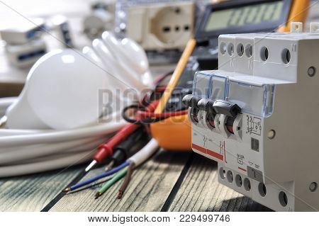Close-up Of Switches For Electrical Panel And Other Components For Residential Electrical Installati