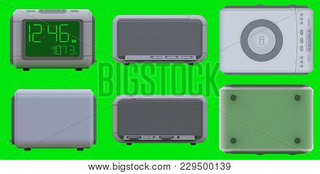 Radio Clock-alarm Clock On An Green Background. 3d Rendering