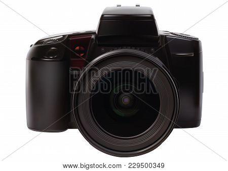 Analog Slr Camera Over A White Background