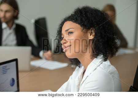 Smiling African American Businesswoman Looking To Future Thinking Of Business Success At Meeting, Dr