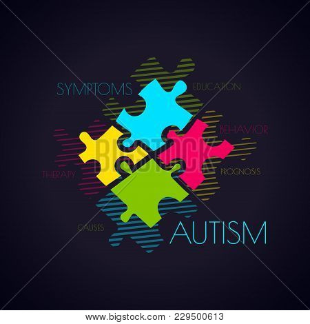 Autism Awareness Poster With Puzzle Pieces And Word Cloud On Black Background. Social Interaction An