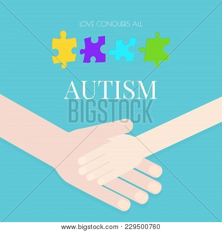 Autism Awareness Poster With Puzzle Pieces On Blue Background. Adult Holding The Hand Of A Child. So