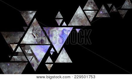 Abstract Galaxy Geometric Background With Triangles On Black Background. Elements Of This Image Furn