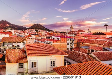 Nice Sunset View Over Cityscape Of Sucre - Bolivia