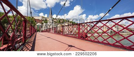 View Of Lyon City From Red Footbridge On Saone River