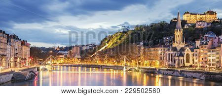View Of Saone River In Lyon City At Evening, France