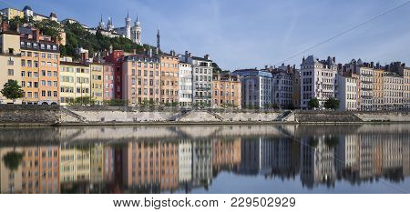 Panoramic View Of Saone River And Reflection, Lyon, France